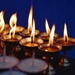 Candles at Boudha Nath (Bodhnath) stupa in Kathmandu, Nepal — Stock Photo #25388315