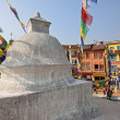 Guest house and restaurant around Boudhanath buddhist stupa in K — Stock Photo