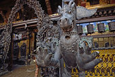 Fearful monster statue in Rudravanar Mahavihar, Kathmandu, Nepa — Stock Photo