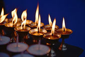 Candles at Boudha Nath (Bodhnath) stupa in Kathmandu, Nepal — Stock Photo
