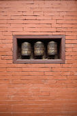 Prayer wheels in the beautiful golden temple in patan, nepal — Stock Photo