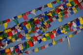 Buddhist praying flags at Boudhanath Stupa, Kathmandu, Nepal — Stock Photo