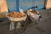 Bicycle with potatoes — Stock Photo
