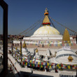 Boudhanath Stupa through the windows, Kathmandu valley, Nepal - Stock Photo