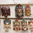 Nepali masks on display in the markets in  Nepal  — Stock Photo