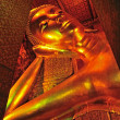 The face of Reclining Buddha statue in Thailand Buddha Temple Wa — Foto Stock
