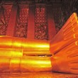 The feet of Reclining Buddha statue in Thailand Buddha Temple Wa — Stock Photo
