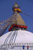 Workers painting Bodhnath Stupa in Kathmandu, Nepal. — Stock Photo