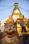 The statue of animal is located at the Swayambhunath Temple in N — Stock Photo