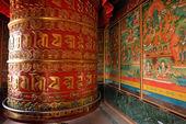 Huge rotating praying drum in Boudhanath stupa, Kathmandu, nepal — Stock Photo