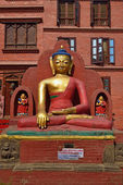 The statue of Buddha is located at the Swayambhunath Temple in N — Stock Photo