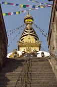 カトマンズ、ネパールのスワヤンブナート寺院へのステップ — ストック写真
