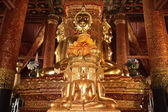 There are four small statues of Buddha in the temple Phumin Nan, — Foto Stock