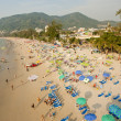 Stock Photo: Chairs and umbrellat Patong beach from bird eye's view, Ph