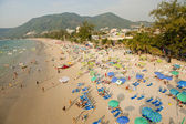 Chairs and umbrella at the Patong beach from bird eye's view, Ph — Stock Photo