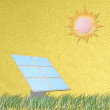 Solar cell panel against the sun made from tissue papercraft — Stock Photo