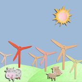 Wind generator and animal farm made form tissue papercraft — Stock Photo