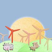 风力发电机组和动物农场作形式组织 papercraft — 图库照片