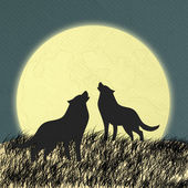 Wolf howling op de maan in de middernacht gemaakt formulier papieren zakdoekje — Stockfoto