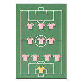 Football field made from tissue papercraft — Stock Photo