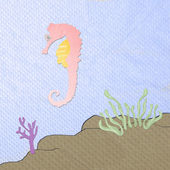 Sea horse cartoon made from tissue papercraft — Stock Photo