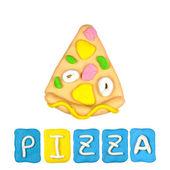 Color children's pizza plasticine on a white background — Stock Photo