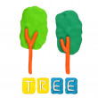 Color children's tree plasticine on a white background — Stockfoto