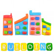 Color children's building plasticine on a white background — Stok fotoğraf