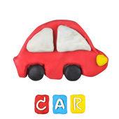 Color children's car plasticine on a white background — Stock Photo