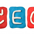 Colorful plasticine alphabet form word CEO — Stock Photo