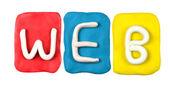 Kleurrijke plasticine alfabet formulier word web — Stockfoto