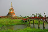 The bridge go to Ayutthaya Temple, Thailand. — Stock Photo