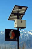 Traffic light and solar cell panel in Leh, Ladakh, India. — Stock Photo