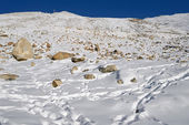 Khardung Pass first check point is a high mountain pass located — Stock Photo