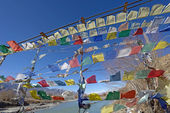 Prayer flag row on bridge cross over Indus River, Ladakh, India — Stock Photo