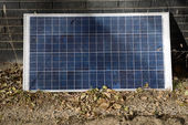 Solar cell on floor in garden of hotel, Ladakh, India — Stock Photo