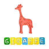 Color children's giraffe plasticine on a white background — Stock Photo
