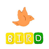 Color children's bird plasticine on a white background — Stok fotoğraf