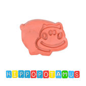 Color children's hippopotamus plasticine on a white background — Foto de Stock
