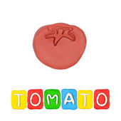 Color children's tomato plasticine on a white background — Stok fotoğraf