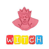 Color children's witch plasticine on a white background — Foto de Stock