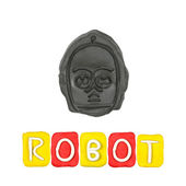 Color children's robot plasticine on a white background — Zdjęcie stockowe