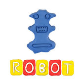 Color children's robot plasticine on a white background — Stok fotoğraf