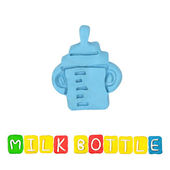 Color children's milk bottle plasticine on a white background — Stock Photo