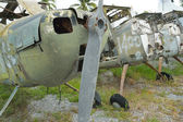 Detail of Old helicopter abandoned — Stock Photo