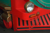Detail of a bus decorated to train — Stock Photo