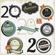 20 years anniversary signs and cards vector design — Imagens vectoriais em stock
