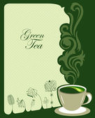 Green tea background design — Stok Vektör