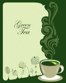 Yeşil çay arka plan tasarımı — Stok Vektör