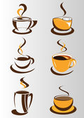 Coffee cup elements and collection for design — Vecteur